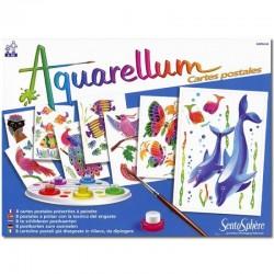 Aquarel carte post animaux